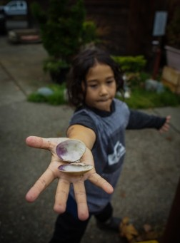 Child holding a clam shell