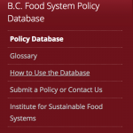 BC Food System Policy Database